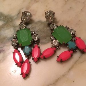 J. Crew neon crystal statement earrings